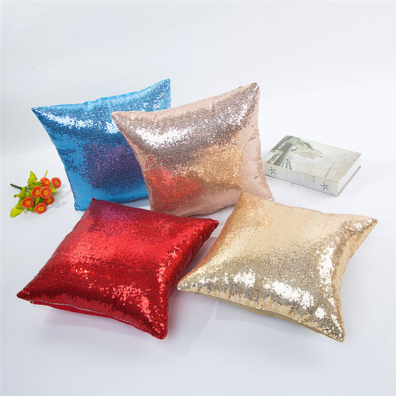 Pillow Case With Sequins Silver Solid Glitter Decorative  Cushion Cover Mermaid Fashion Pillowcover For Sofa 40*40cm 10023