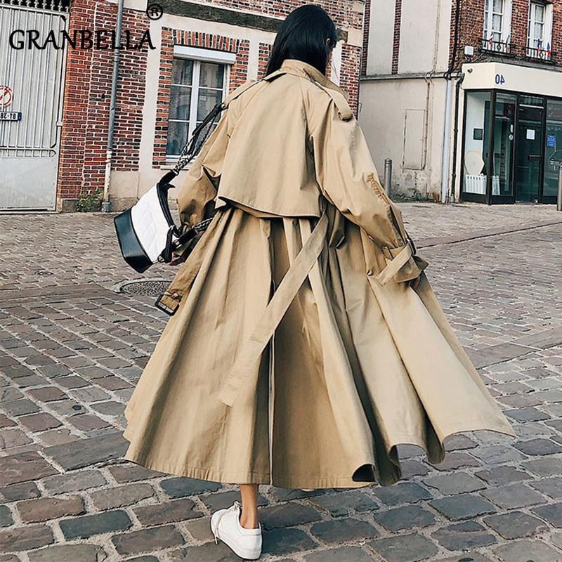 British Style 2020 New Spring's  Women Long Trench Coat  Windbreaker Stylish Fashion Ladies Overcoats Cloak With Belt