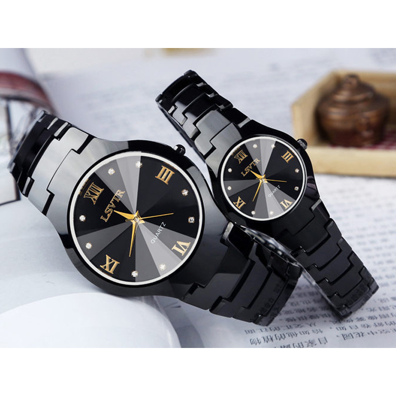 LSVTR Fashion Brand Luxury Couple Watches Pair Men And Women Waterproof Calendar Stainless Steel Lovers Watch Couples Gift
