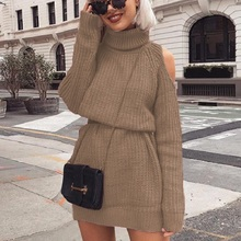 2019 New Autumn Winter Turtleneck Off Shoulder Knitted Sweater Dress Women Solid