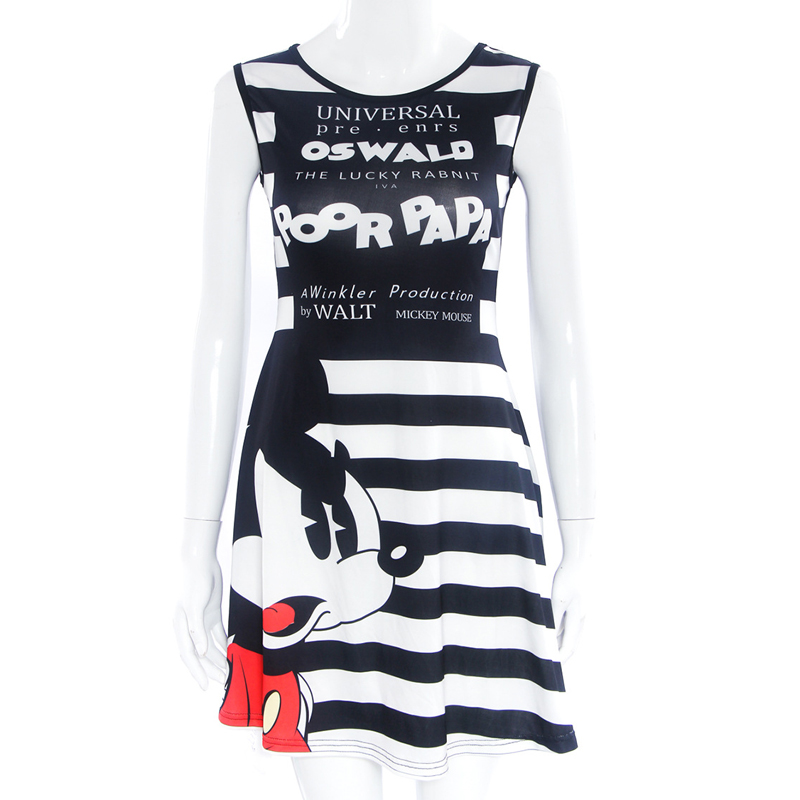 New 2019 Summer Print Cute Mickey Mouse Dress Casual Round Neck Sleeveless Slim Sexy Dress Fashion Party Women Princess Dress