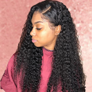 Wig Curly with Baby-Hair Peruvian Kinky Hairline Plucked Lace Deep-Wave Transparent Hd