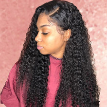 Hd Transparent Lace Wig Deep Wave Lace Front Human Hair Wigs Plucked Hairline With Baby Hair Peruvian Kinky Curly Wig(China)