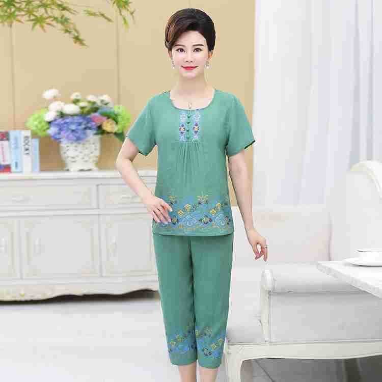 Middle-aged Women Dress Summer Short Sleeve Trousers Women's Thin Grandma Cotton Linen Pajamas Suit Large Size