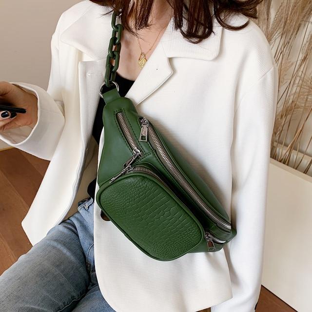 Stone Pattern PU Leather Waist Bag