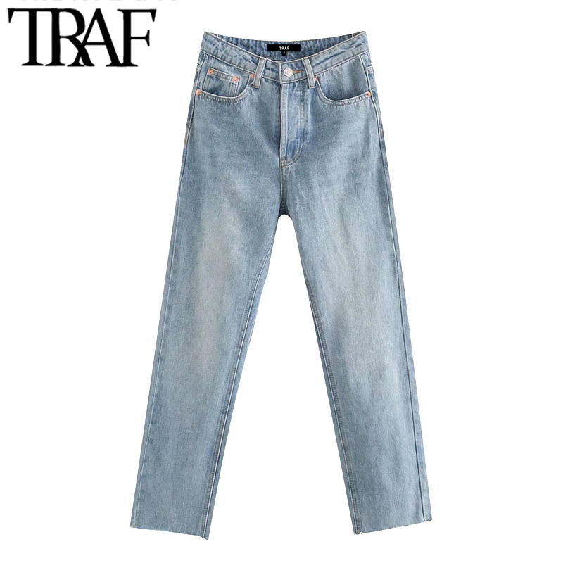 TRAF Women Chic Fashion High Waist Straight Jeans Vintage Buttons Fly Pockets Denim Pants Female Ankle Trousers Jean