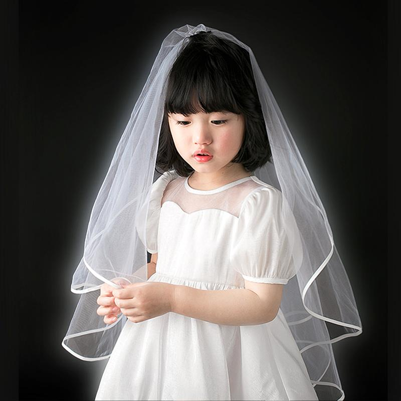 White Wedding Bridal Veil Tulle Bridal Veils with Comb Wedding Veils With Lace Ribbon Edge For Marriage Wedding Accessories