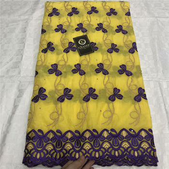 Latest African Cotton Lace Fabric 2020 High Quality Nigerian Pure Cotton Embroidery Swiss voile Lace Fabrics For Wedding Yellow фото