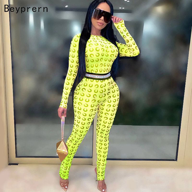 Beyprern Vintage Printed Mesh Jumpsuits Rompers Summer Overalls Fashion Neon Green Printed Bodysuit One Piece Party Club Outfits