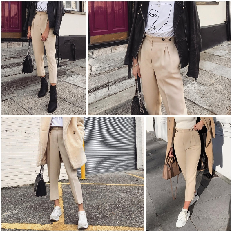 Simplee Solid casual harem pants female trousers High waist office ladies blazer suit pants Loose Ankle-length women pants 19 3