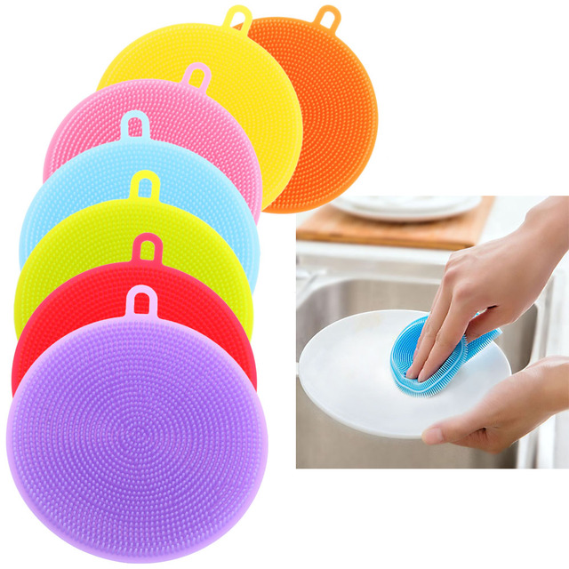 1PC Silicone Dish Washing Sponge Washing Brush Scrubber Kitchen Cleaning Antibacterial Tools Supply Magic Cleaning Accessories E