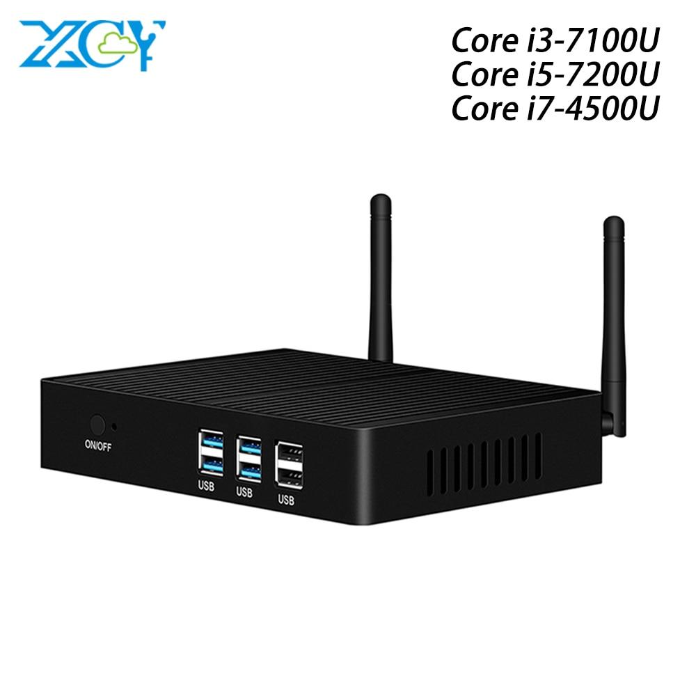 Cheap Fanless Mini PC Windows 10 Core I7 4500U I3 7100U 4010Y I5 7200U Mini Computer DDR3L HTPC WiFi HDMI VGA 6*USB Minipc