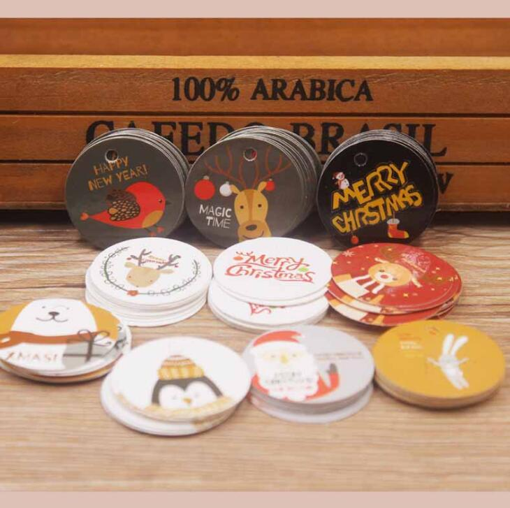 100pcs/lot Dia 3cm Circle Shape Hang Tag Christmas Paper Gift Tag Favors Package Label Kawaii Party Supplies (tt-4027)