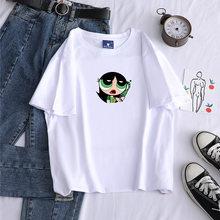 2021 mulheres tshirts buttercup powerpuff meninas harajuku algodão hip hop ulzzang estilo coreano unisex impressão dos desenhos animados camisetas verão