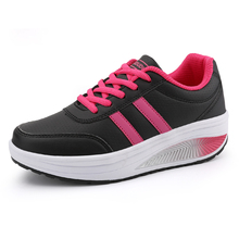 Toning-Shoes Platform Women Black Lace-Up Blue Increasing Height Thick-Sole Flat Ladies