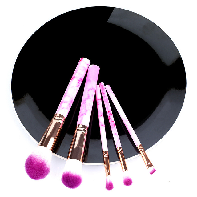 5/10pcs Set Of Makeup Fan Brushes Marble For Face Eye Cosmetic Powder Foundation Eye Shadow Cosmetics Soft Professional Eyebrows 1