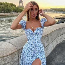 Floral Sweet Square Collar Fluffy Sleeves Wrapped Chest Tight-fitting Princess Sleeve Dress Sexy Fashion Split Summer Dress