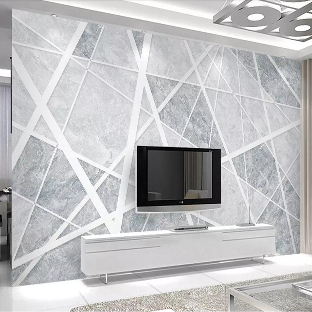 Dropship Custom 3D Wallpaper Mural Simple Marble Abstract Geometric Golden Living Room Background Wall Paper Mural