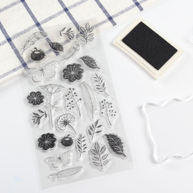 flower and leaf design soft rubber clear stamp hobby DIY scrapbooking cards notebook planner decoration
