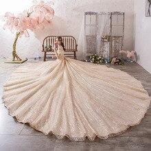 Vestido Cocktail Limitata Vestido De Festa Sen Abito Da Sposa 2020 Abito Da Sposa Nuovo di Lusso da Sogno di Lusso Super Grande Coda Principale Netto voce