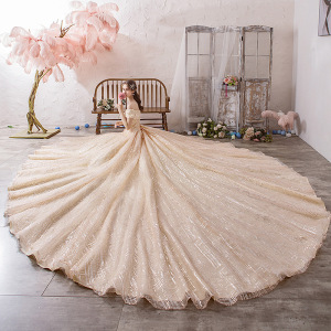 Image 1 - Vestido Cocktail Limited Vestido De Festa Sen Wedding Dress 2020 New Bride Luxury Dream Luxurious Super Big Tail Main Net Voice