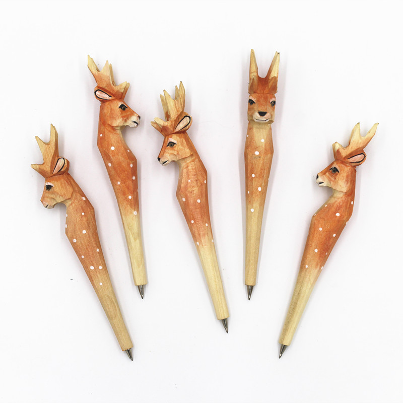 Creative Wood-carving Pen Spot Deer Modeling Wood Animal Ballpoint Pen Attractions Hot Sales Handmade Wood Pen image