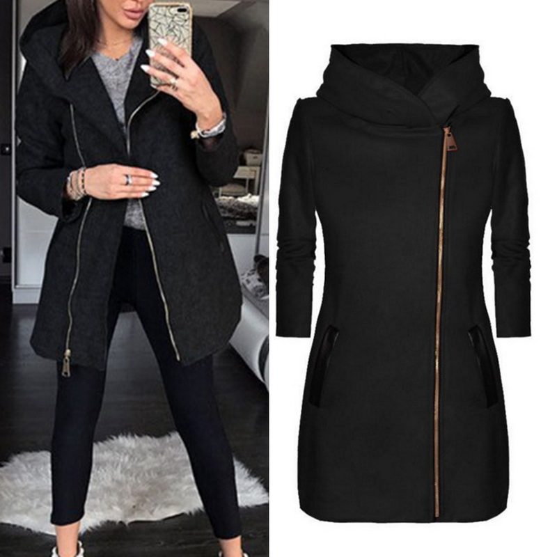 Vertvie Coat Women Outwear Hooded-Jackets Slim-Pockets Long-Sleeve Warm Black Casual
