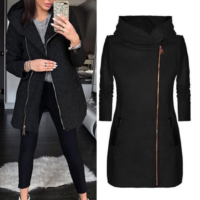 Vertvie 2019 Autumn Long Black Coat Women Zipper Long Sleeve Hooded Jackets Casual Female Long Warm Slim Pockets Outwear Clothes