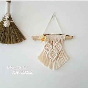 Image 3 - Colgante de pared de macramé nórdico tejido a mano de algodón, tapiz de pared pequeño, cabecero de habitación para niños, accesorios de fotografía, decoración Bohemia