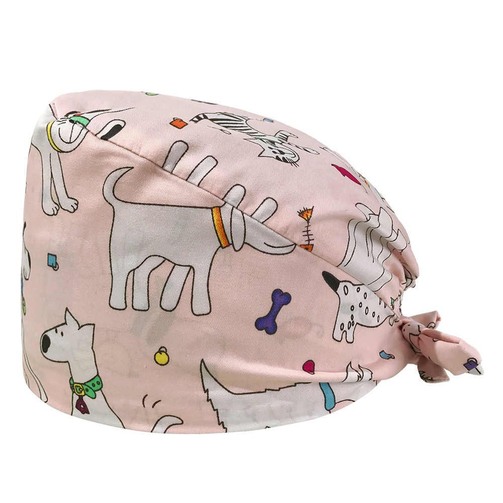 VIAOLI للجنسين غطاء فرك الطبية التمريض ممرضة قبعة الكرتون الطباعة الحيوانات الأليفة مستشفى الطبيب قبعة عيادة الأسنان الطبية الجراحية غطاء