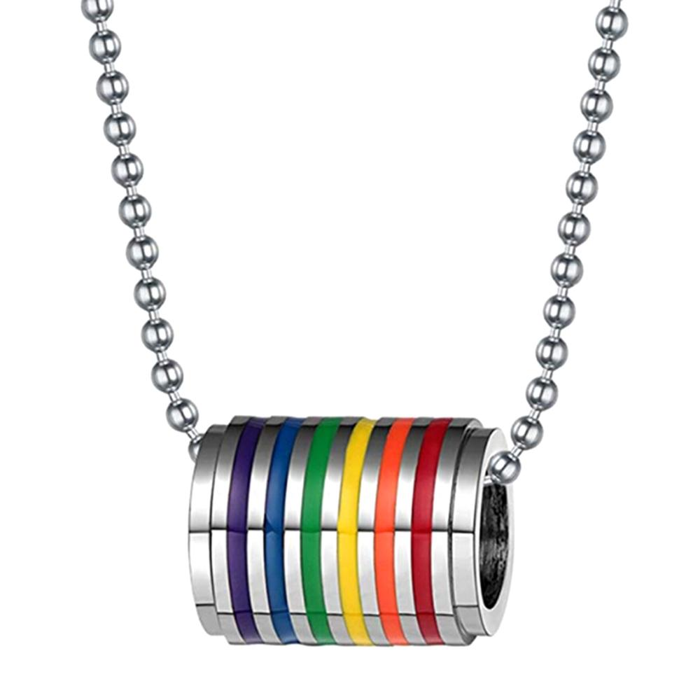 Gay <font><b>Pride</b></font> Chain Necklace Men Pendents Big Spacers <font><b>Bisexual</b></font> LGBT <font><b>Jewelry</b></font> Lesbian Rainbow Lovers Marriage Gift Stainless Steel image