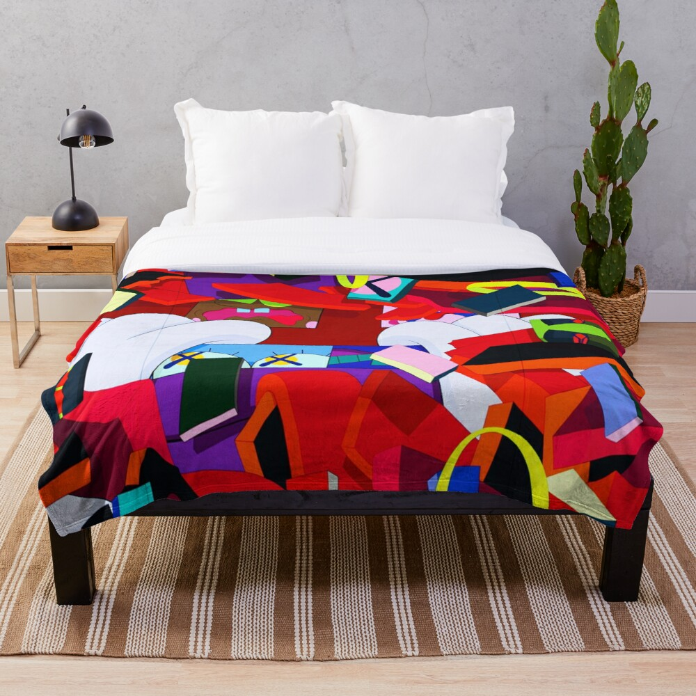 KAWS Hold The Line Honor Fraser Throw Blanket Soft Sherpa Blanket Bed Sheet Single Knee Blanket Office Nap Blanket