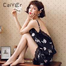 CAIYIER Sexy Lace Silk Satin Pajamas Set For Women Deep V-Neck Sling Backless Sleepwear