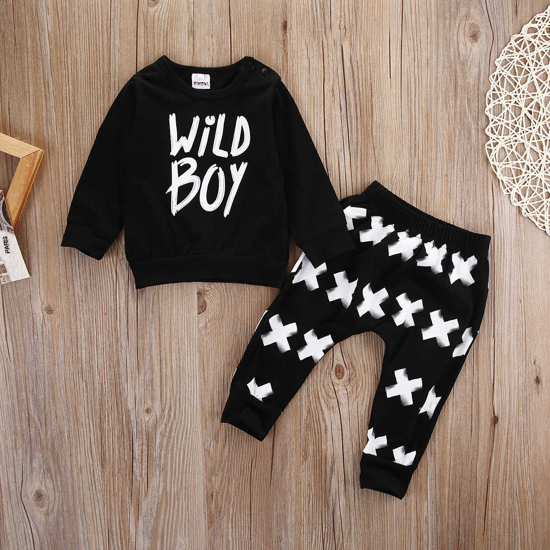 Emmababy เด็กแรกเกิดเด็กทารกสบายๆเสื้อยืดผ้าฝ้ายเสื้อ + กางเกง 2Pcs เสื้อผ้าชุด