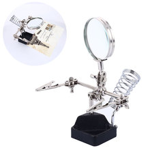 Metal 1084 Desk Lamp Clamp Welding Magnifier Lens Auxiliary Clip Durable Tools Repair Magnifier Bracket Magnifying Hand Desktop 10x ac dc interchangeable magnifier standard desktop magnifier with 5led lights alligator auxiliary clip stand