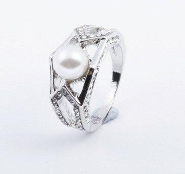 Lady S-Ring Wholesael Pearl Diamond 925-Silver Crystal Inlay 5--10x6.9b Chaming 3pcs/lots