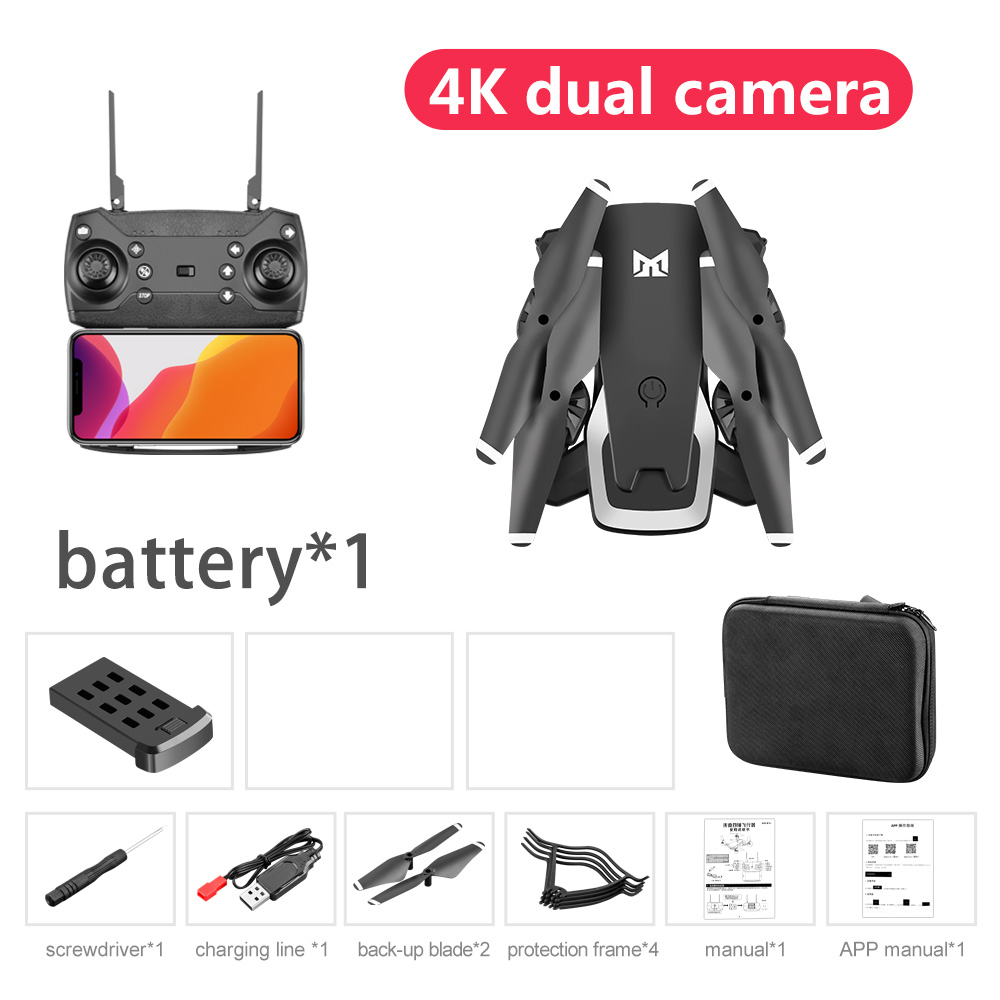 Professional Drone 4K HD Dual Camera GPS Foldable RC Aircraft WIFI FPV 20Mins Quadcopter kids Toys Outdoor KK6 New Helicopt
