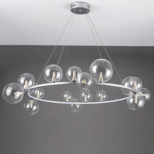Silver Chandelier Luminaire Lighting-Suspension Deco Glass Bubbles Dinning-Room Lampen