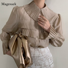 Korean Style Elegant Pleated Shirts Spring Turn Down Collar Blouse Women Solid Single Breasted Lantern Sleeve Tops Blusas 13337