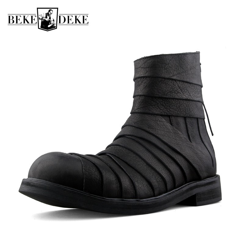 Punk Style Harajuku Genuine Leather Spliced Mens Mid Calf Boots Personality Designer New Round Toe Back Zipper Increase Boots