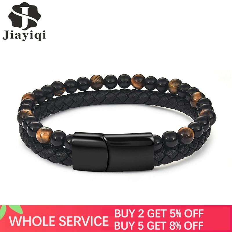 Jiayiqi 6MM Natural Stone Men Bracelet Black Genuine Leather Magnetic Buckle Bangle 18.5/20.5/22cm Male Jewelry