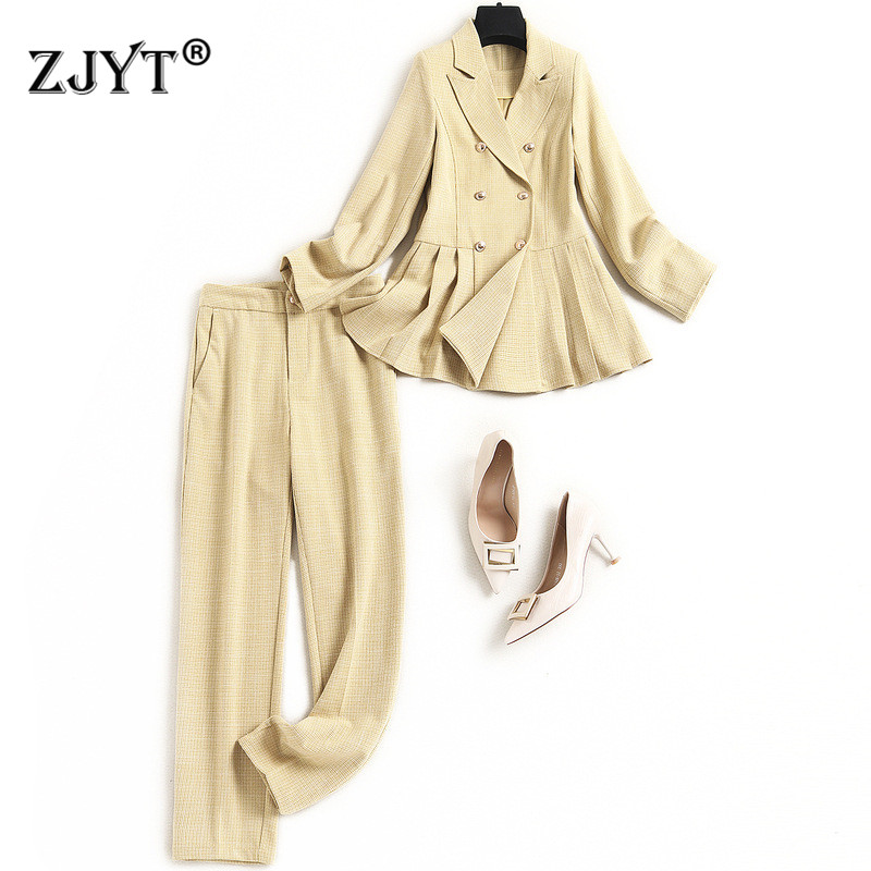 High Quality Designers Office Lady Two Piece Outfits 2021 Spring New Fashion Women Tunic Blazer and Pants Suit Matching Sets