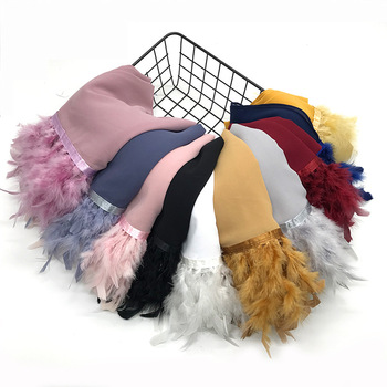 Fashion Big Feather Chiffon Long Shawl Lady Muslim Hijabs Scarf For Women Wedding Wrap Islamic Headscarf Solid Turkish Turban 70 180cm solid color chiffon female wrapped scarf arab turkish inner hijab muslim lady shawl turban islam headscarf for women