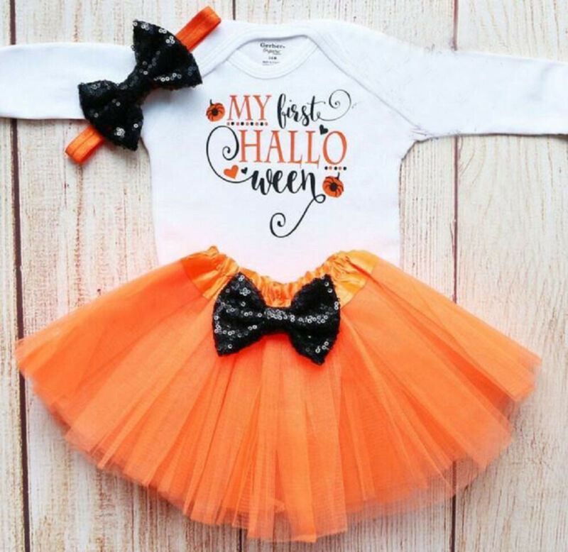 Emmababy 3pcs Set 2019 Baby Spring Autumn Clothing 3-18M Newborn Girl Romper Tutu Skirt Headband Halloween Clothes Outfit