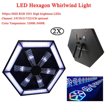 цена 2Pcs/Lot 200W LED Hexagon Whirlwind Light Stage Lighting effect DMX 512 Club Disco Party Ballroom KTV Bar DJ Projector Spotlight онлайн в 2017 году