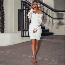 Белое Кружевное коктейльное платье Русалка с длинным рукавом