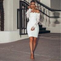 White Pure Lace Long Sleeves Mermaid Cocktail Dresses Applique Mini Length Party Dresses Vestido De Fiesta High Quality