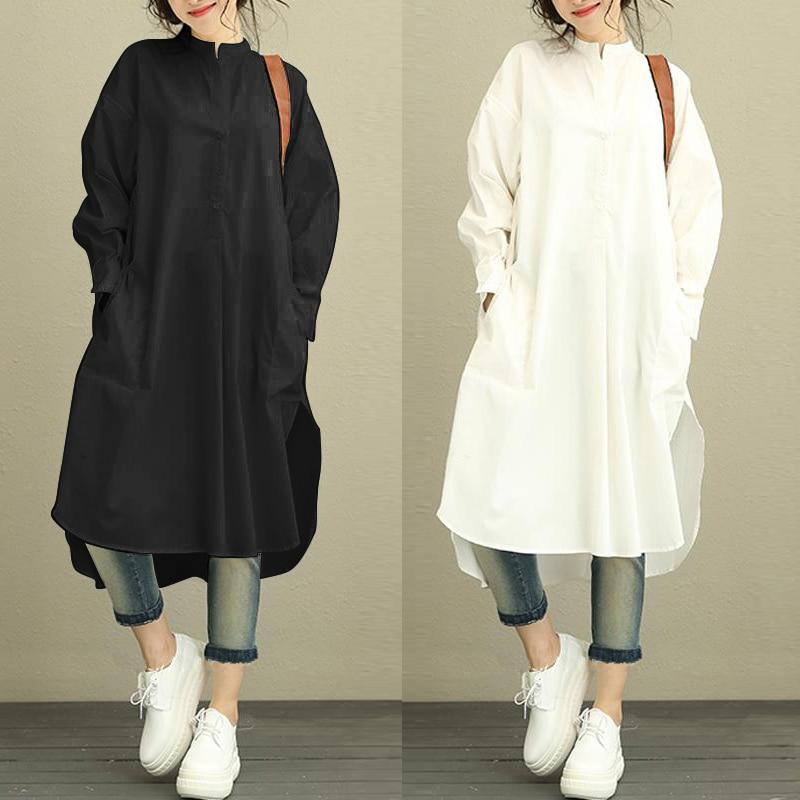 ZANZEA Fashion Autumn Shirt Dress Women Female Retro Loose Long Sleeve Mid Length Side Slit Asymmetry Hem Baggy Kaftan Dress