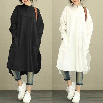 цена на ZANZEA Fashion Autumn Shirt Dress Women Female Retro Loose Long Sleeve Mid Length Side Slit Asymmetry Hem Baggy Kaftan Dress