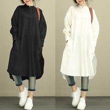 Модное осеннее платье рубашка zanzea женское свободное в стиле